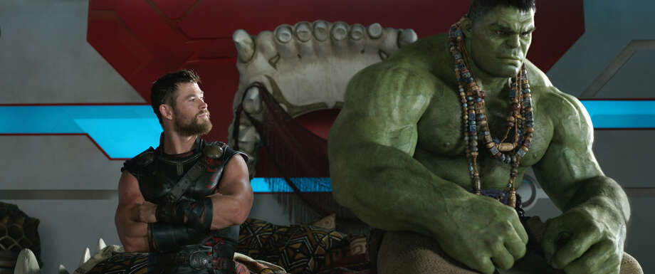 """""""Thor: Ragnarok""""An imprisoned Thor has a formidable challenge, first fighting his one-time friend the Hulk and then defending his home from a powerful threat. (PG-13) Photo: HONS / null"""