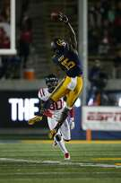 California Golden Bears wide receiver Jordan Veasy (15) makes the reception after tipping and juggling the ball down during the first half of an NCAA football game between the California Golden Bears and the Mississippi Rebels at California Memorial Stadium on Saturday, Sept. 16, 2017, in Berkeley, in Berkeley, Calif. The Rebels lead 16-7 at halftime.