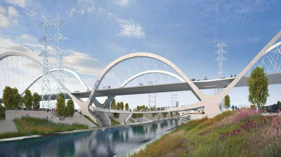 This rendering by Michael Maltzan Architecture shows a park on the L.A. River, which is being reimagined as a place for people after many years as an eyesore. Maltzan designed the new Moody Center for the Arts at Rice University. Photo: Michael Maltzan Architecture