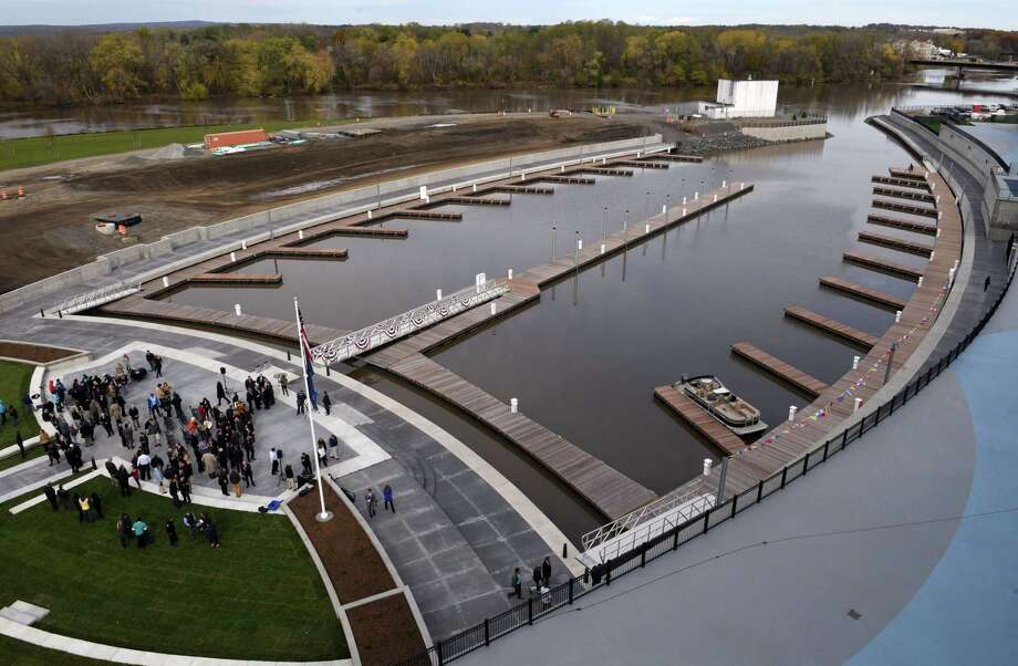 View of Mohawk Harbor Marina on Wednesday, Nov. 1, 2017, in Schenectady, N.Y. The signature element of a $480 million mixed-use development is ready for public use and includes 50 boat slips, amphitheater, and kayak launch. (Will Waldron/Times Union) Photo: Will Waldron, Albany Times Union / 20042014A