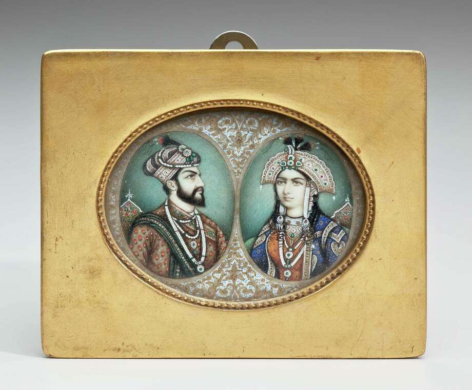 "Double Portrait of Mughal Emperor Shah Jahan (1592-1666) and Empress Mumtaz (1593-1631), India, late 19th century, from the ""Wondrous Worlds"" exhibit at the Asia Society Texas Center. Photo: Collection Of The Newark Museum"
