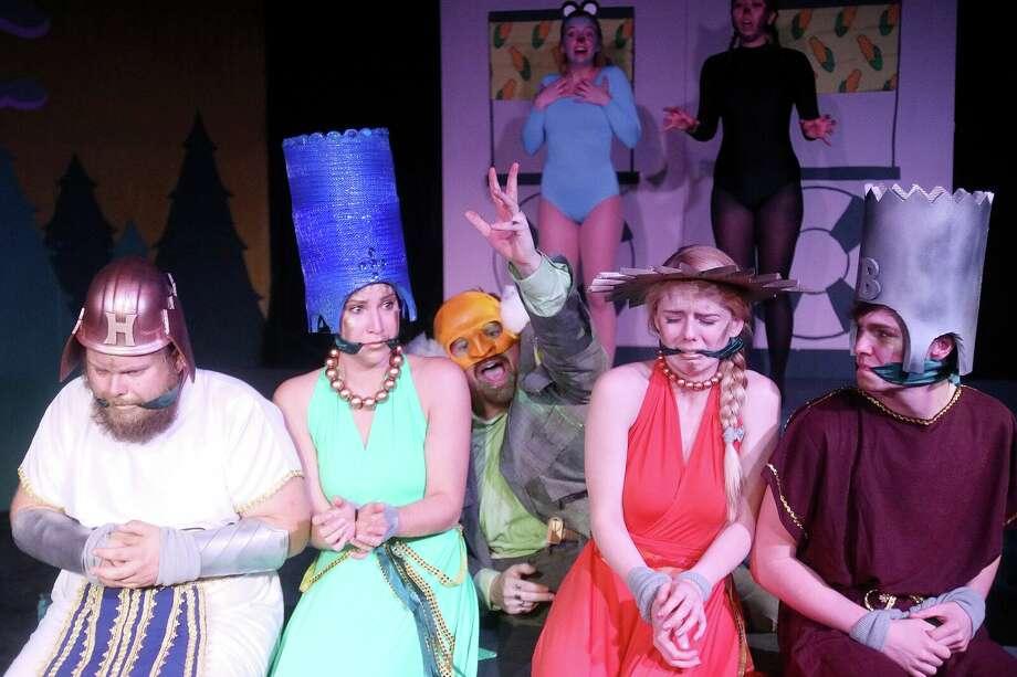 "From Left to Right: Allen Titel (Homer Simpson), Jenna Morris (Marge Simpson), Kurt Bilanoski (Mr. Burns), Kiley Pearson (Lisa Simpson) and Jayden Key (Bart Simpson) in ""Mr. Burns: A Post-Electric Play"" at Obsidian Theater. Photo: Pin Lim"