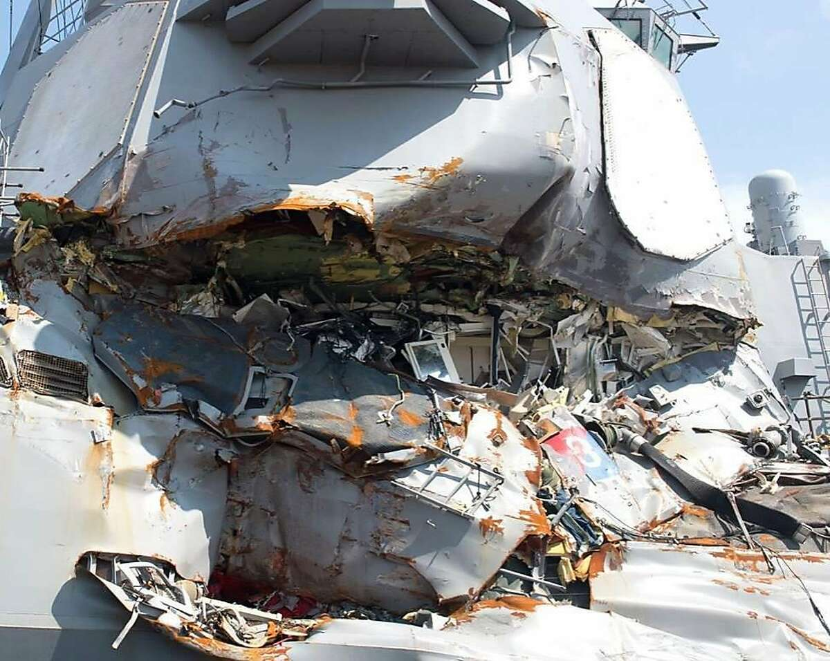 In an undated handout photo, damage to the USS Fitzgerald after it collided with a cargo ship near Japan in June 2017. The collision, and that of another American destroyer near Singapore, was the result of a string of avoidable crew and navigational errors, the Navy said in reports made public on Nov. 1, 2017. (U.S. Navy via The New York Times) -- FOR EDITORIAL USE ONLY --