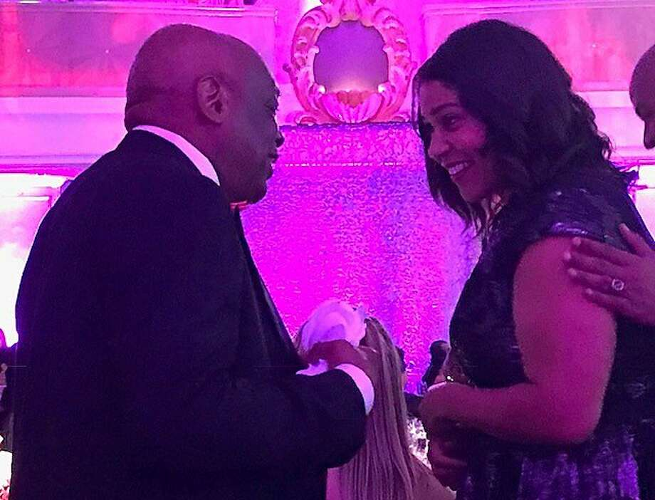 Willie Brown and London Breed chat at MoAD Afropolitan Ball Photo: Leah Garchik, San Francisco Chronicle