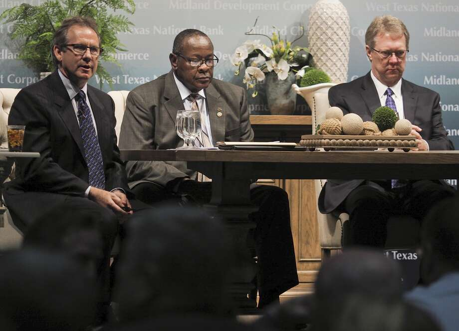 Panel members, Brent Hilliard, Willie Taylor and Russell Meyers, speak 11/01/17 at the annual State of the Economy luncheon. Tim Fischer/Reporter-Telegram Photo: Tim Fischer/Midland Reporter-Telegram