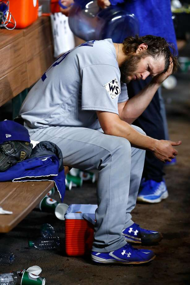 All too often in the postseason, Clayton Kershaw has had to hang his head. But he could drive the Dodgers to a World Series title on Wednesday night. Photo: Jamie Squire, Getty Images
