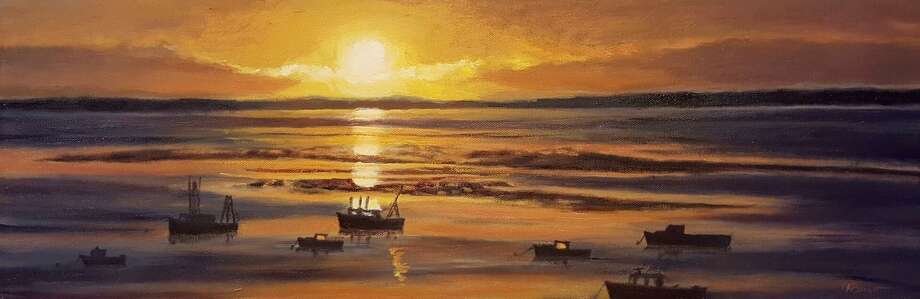 """Paintings by Peter Barrett are featured this month at Maple and Main Gallery in Chester, in """"Art of the Sea."""" Above, """"Waking up the Fleet."""" Photo: Contributed Photo/Not For Resale"""