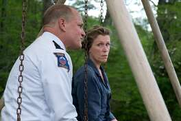 "L-R: Woody Harrelson as Sheriff Bill Willoughby and Frances McDormand as Mildred Hayes in ""Three Billboards Outside of Ebbing, Missouri,"" opening at Bay Area theaters on Friday, November 17. Photo courtesy of Fox Searchlight Pictures."
