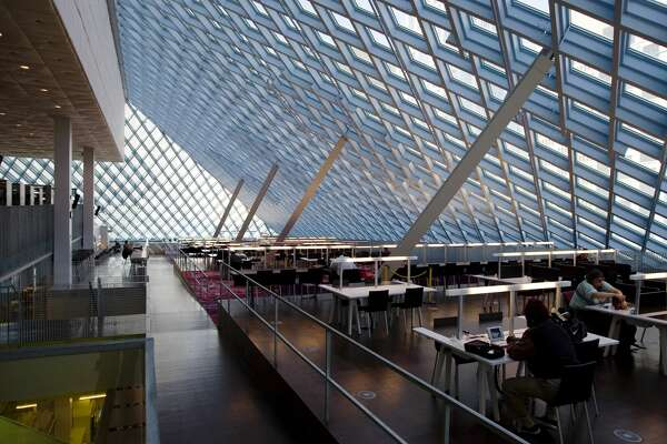 View of the 10th floor reading room in the Seattle Public Library.