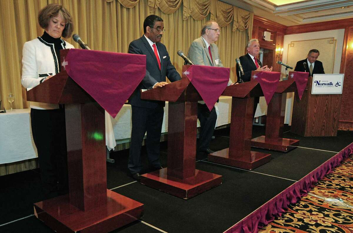 Petitioning candidates Lisa Brinton and Bruce Morris, Republican Andrew Conroy and Democrat incumbent Harry Rilling square off on issues affecting the local business community during The Greater Norwalk Chamber of Commerce?'s 2017 Mayoral Debate on Wednesday, November 1, 2017, at The Norwalk Inn & Conference Center in Norwalk, Conn.