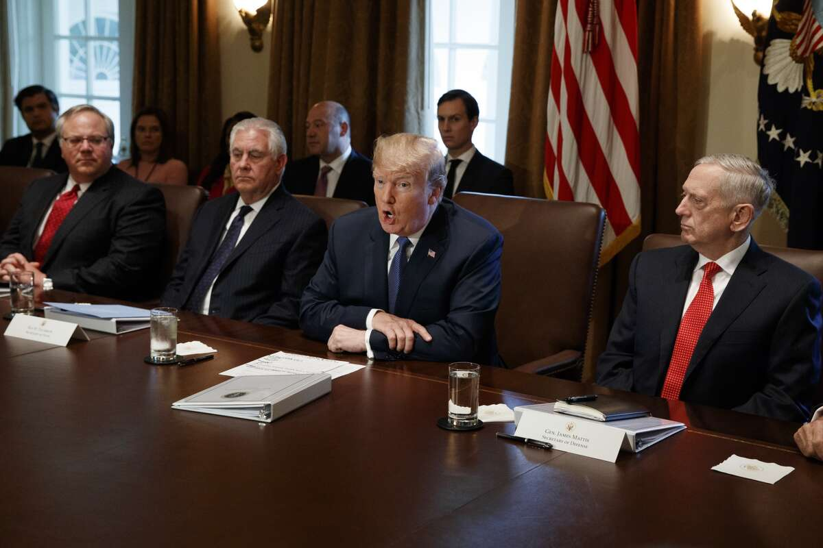 Deputy Secretary of Department of Interior David Bernhard (far left) during a cabinet meeting Wednesday at the White House with President Donald Trump, Secretary of State Rex Tillerson, Trump, and Secretary of Defense Jim Mattis. (AP Photo/Evan Vucci)