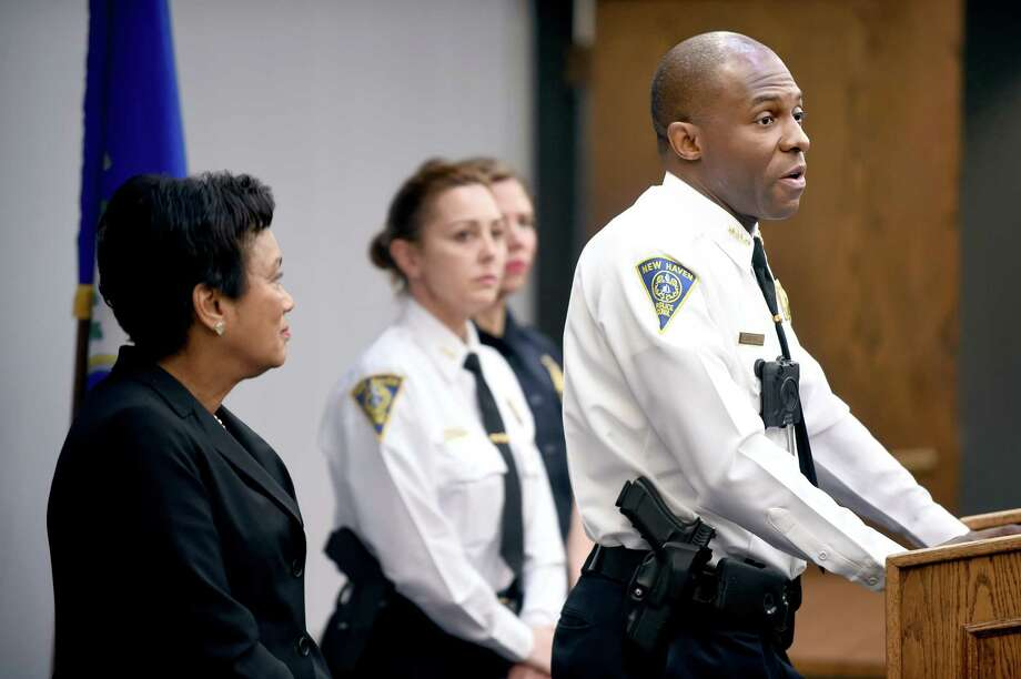 New Haven Police Chief Anthony Campbell (right) talks about the introduction of body cameras for police at the New Haven Police Department on November 1, 2017. Photo: Arnold Gold, Hearst Connecticut Media / New Haven Register