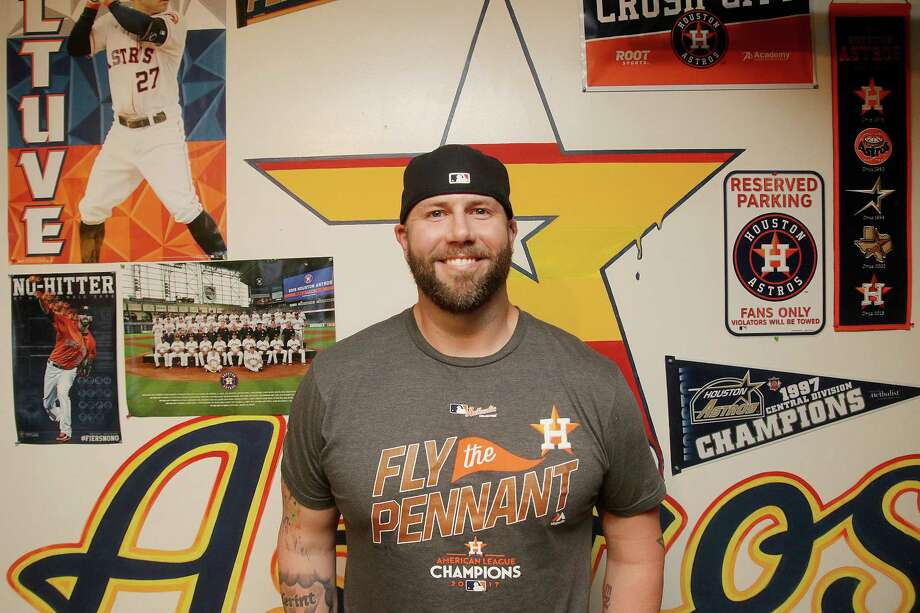 """Friendswood resident Jason Sheridan lacks most of the superstitious beliefs that many other Astros fans display, but he understands how baseball,a  game of routines, can lead fans to patterns of behavior. """"Once you're in baseball, once it's part of your life, I'm not sure if all of that goes away,"""" he says. Photo: Pin Lim / For The Chronicle / Copyright Forest Photography, 2016."""