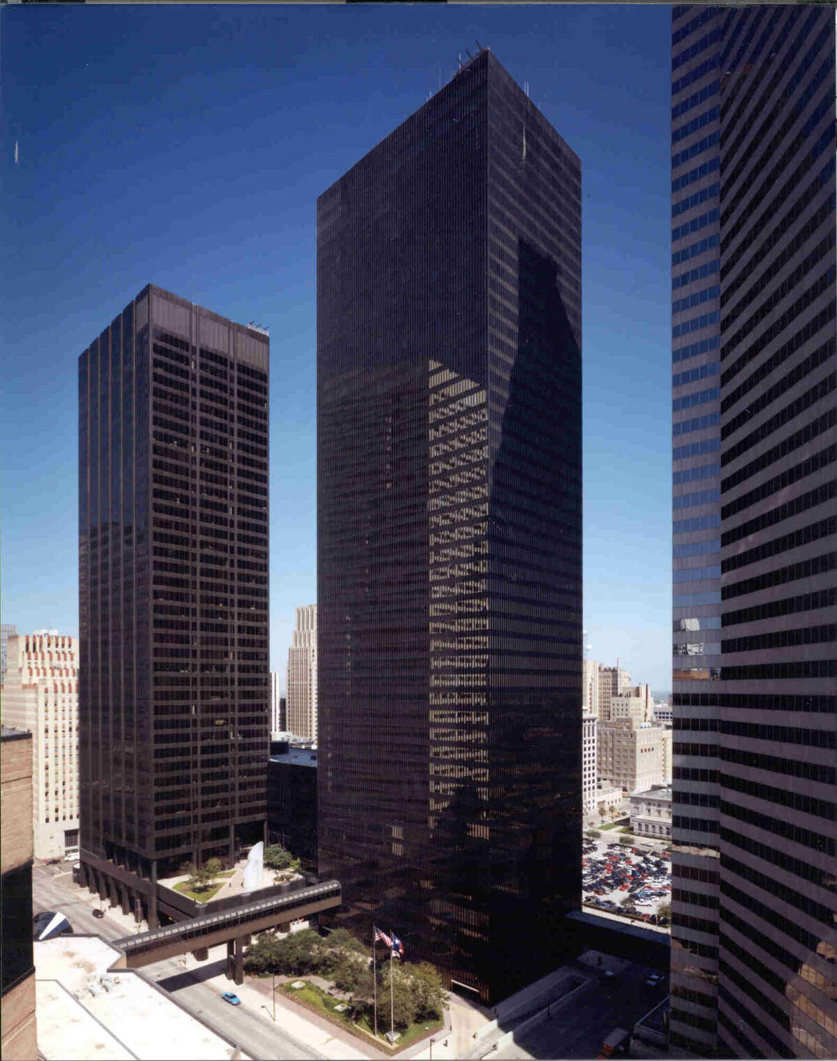 LyondellBasell Tower, center, at 1221 McKinney Street, is home to the Beck Redden law firm.