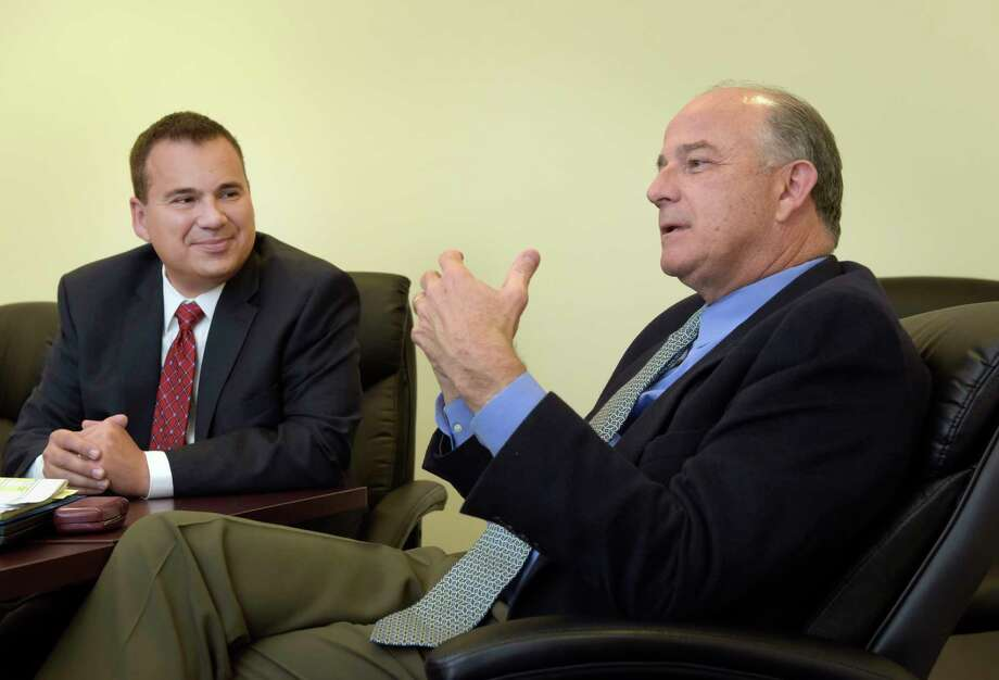 Joe Gambino, left, CEO of Hometown Health Centers, and David Shippee, president and CEO of Whitney Young Health, talk about health care for the patients they serve during an interview on Wednesday, Nov. 1, 2017, in Albany, N.Y.    (Paul Buckowski / Times Union) Photo: PAUL BUCKOWSKI, Albany Times Union / 20042010A