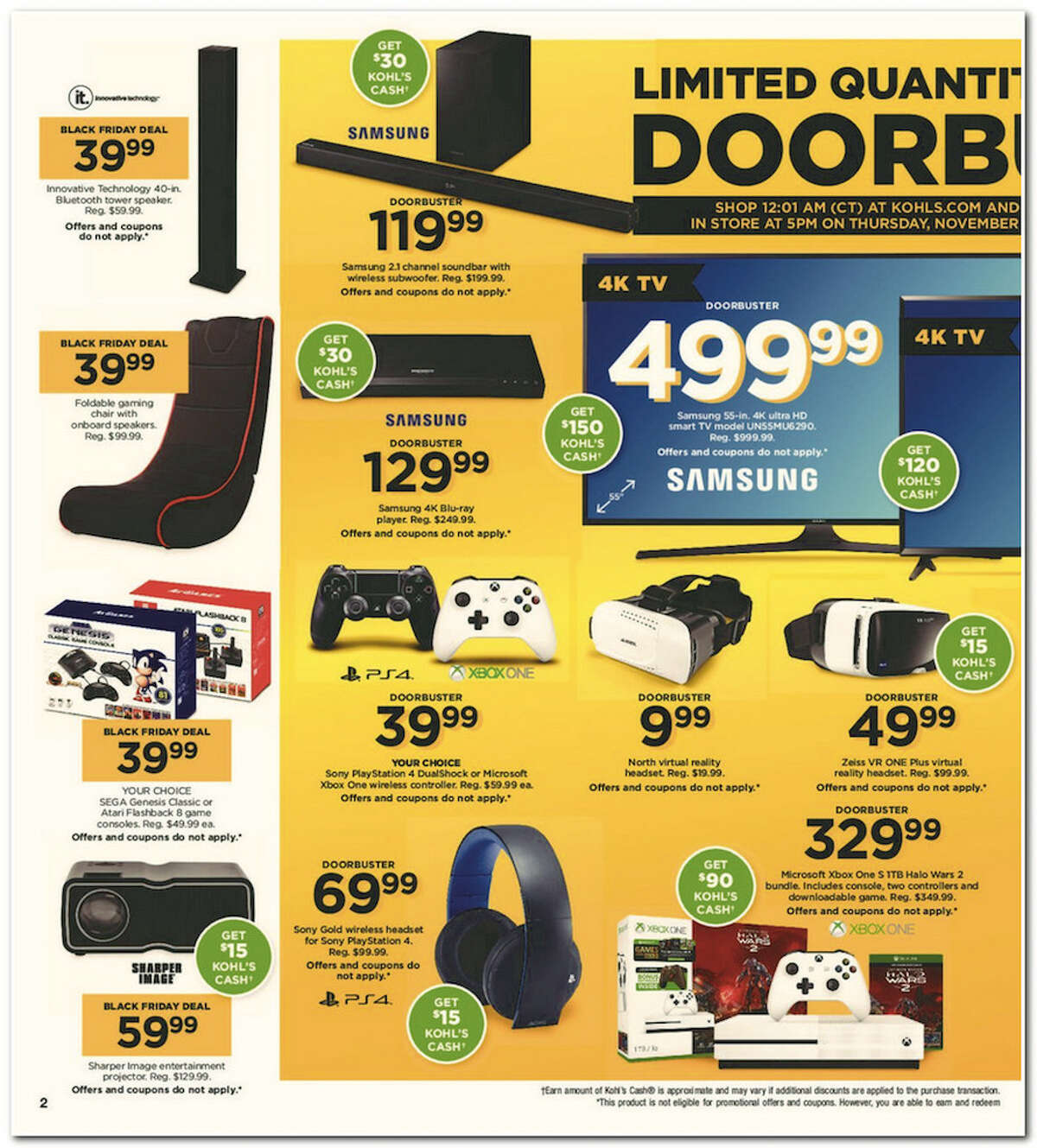 Kohl's has released its 64-page 2017 Black Friday Doorbuster ad. Prices and promotion are valid Thursday, Nov. 23 at 5 p.m. and are subject to change and availability, based on the retailer's determination.