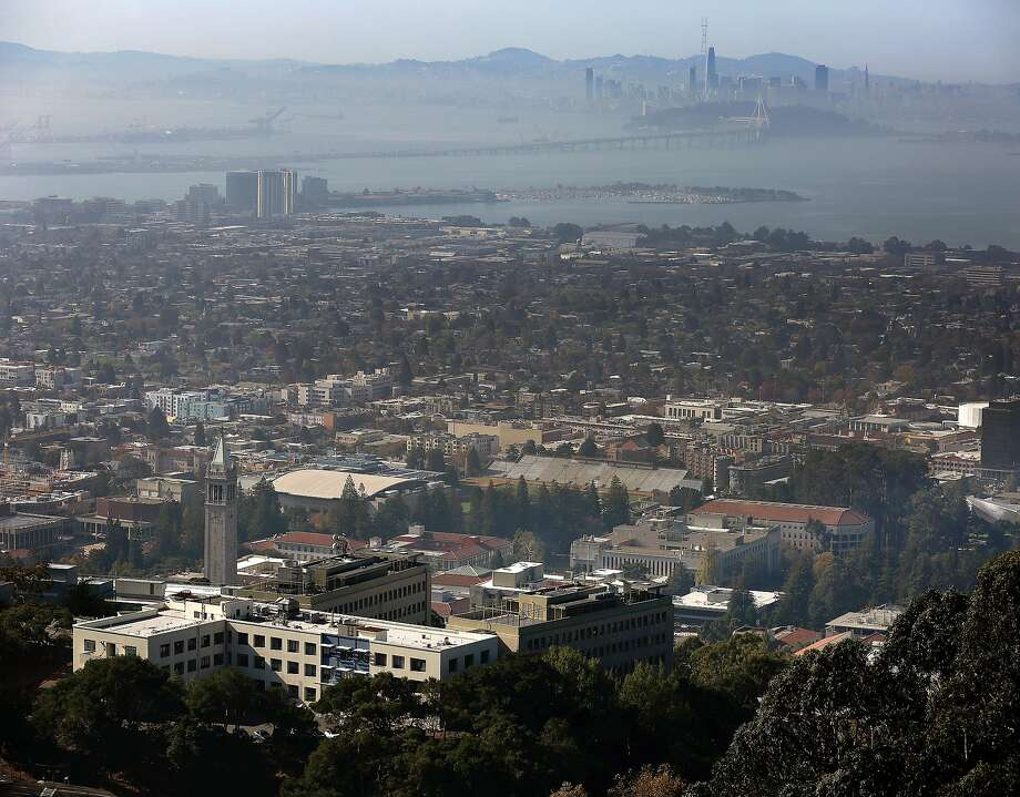 UC Berkeley campus seen in foreground with San Francisco skyline in background on Wednesday, November 1, 2017, in Berkeley, Calif.. Photo: Liz Hafalia / The Chronicle 2017
