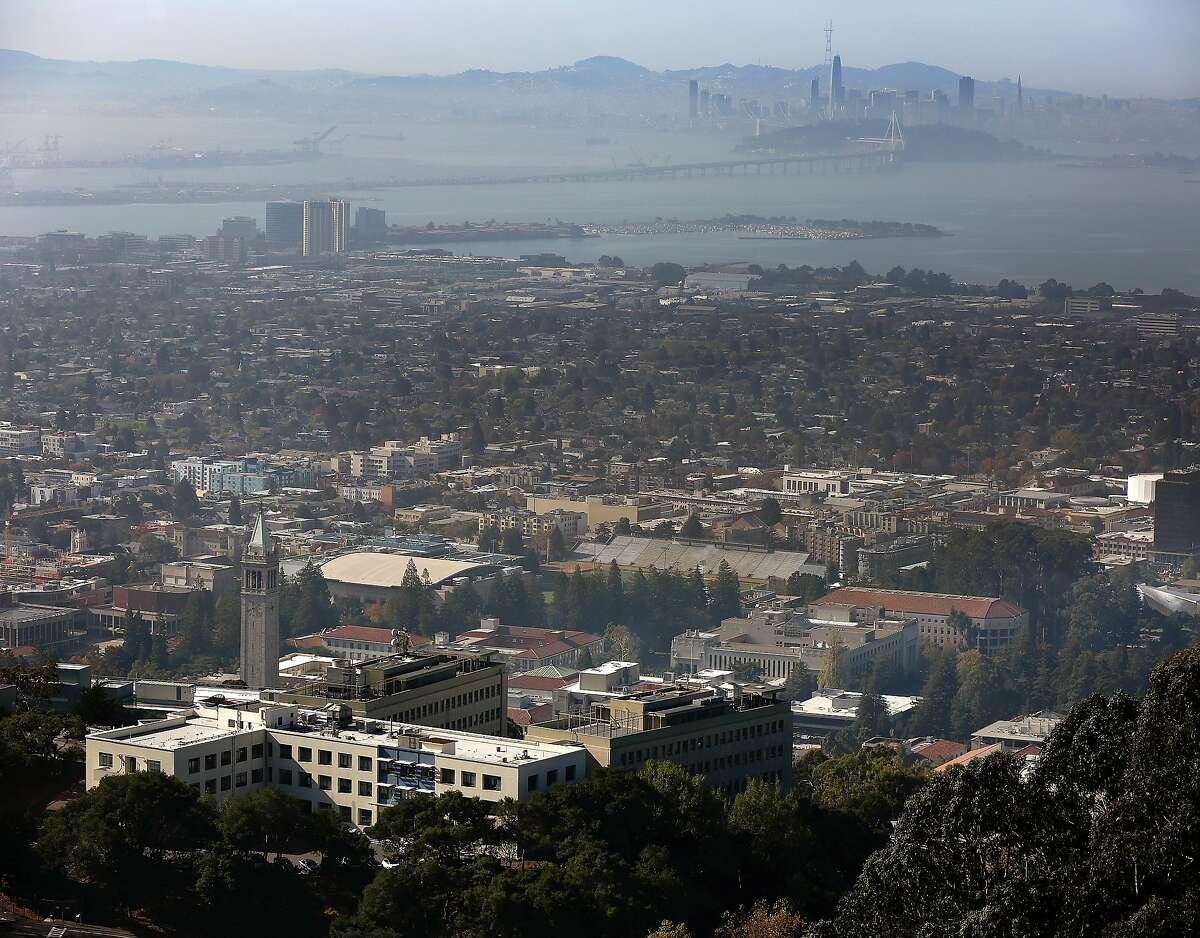 UC Berkeley campus seen in foreground with San Francisco skyline in background on Wednesday, November 1, 2017, in Berkeley, Calif..