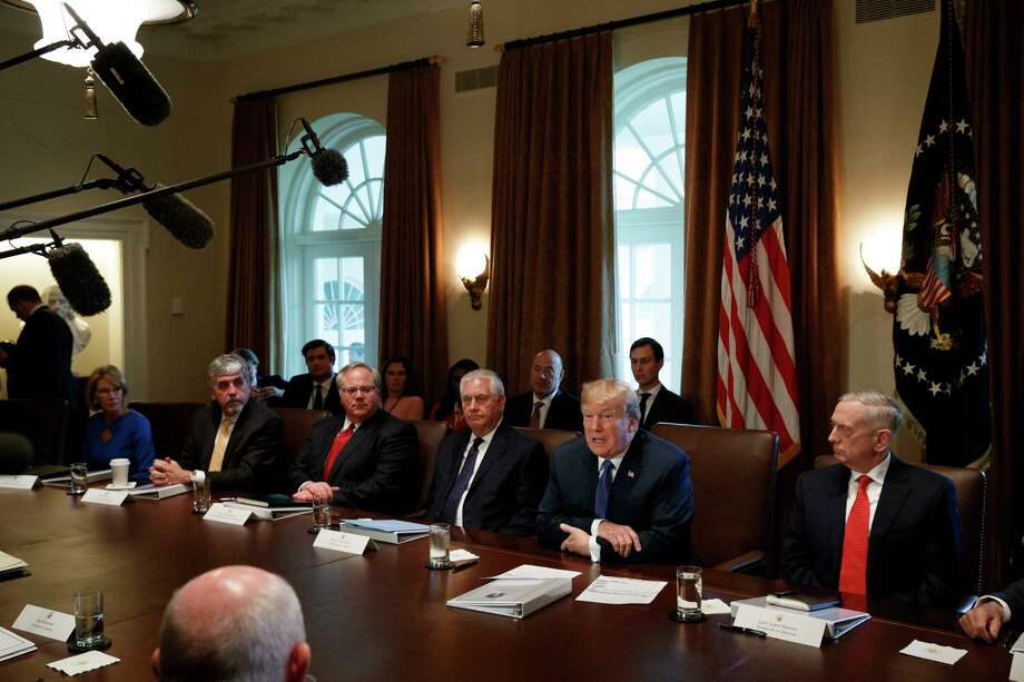 President Donald Trump speaks during a cabinet meeting at the White House, Wednesday, Nov. 1, 2017, in Washington. From left, Secretary of Education Betsy DeVos, acting Secretary of Health and Human Services Eric Hargan, Deputy Secretary of Department of Interior David Bernhardt, Secretary of State Rex Tillerson, Trump,  and Secretary of Defense Jim Mattis. (AP Photo/Evan Vucci) Photo: Evan Vucci, STF / Copyright 2017 The Associated Press. All rights reserved.