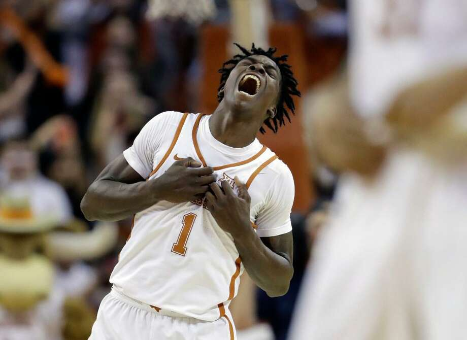 Texas guard Andrew Jones (1) celebrates the team's 84-83 victory over Oklahoma on Jan. 23, 2017, in Austin. Photo: Eric Gay /AP Photo