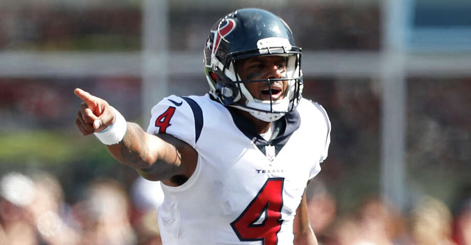Texans quarterback Deshaun Watson (4) is ahead of schedule of the rehab of his injured right knee, according to coach Bill O'Brien. Photo: Brett Coomer/Houston Chronicle
