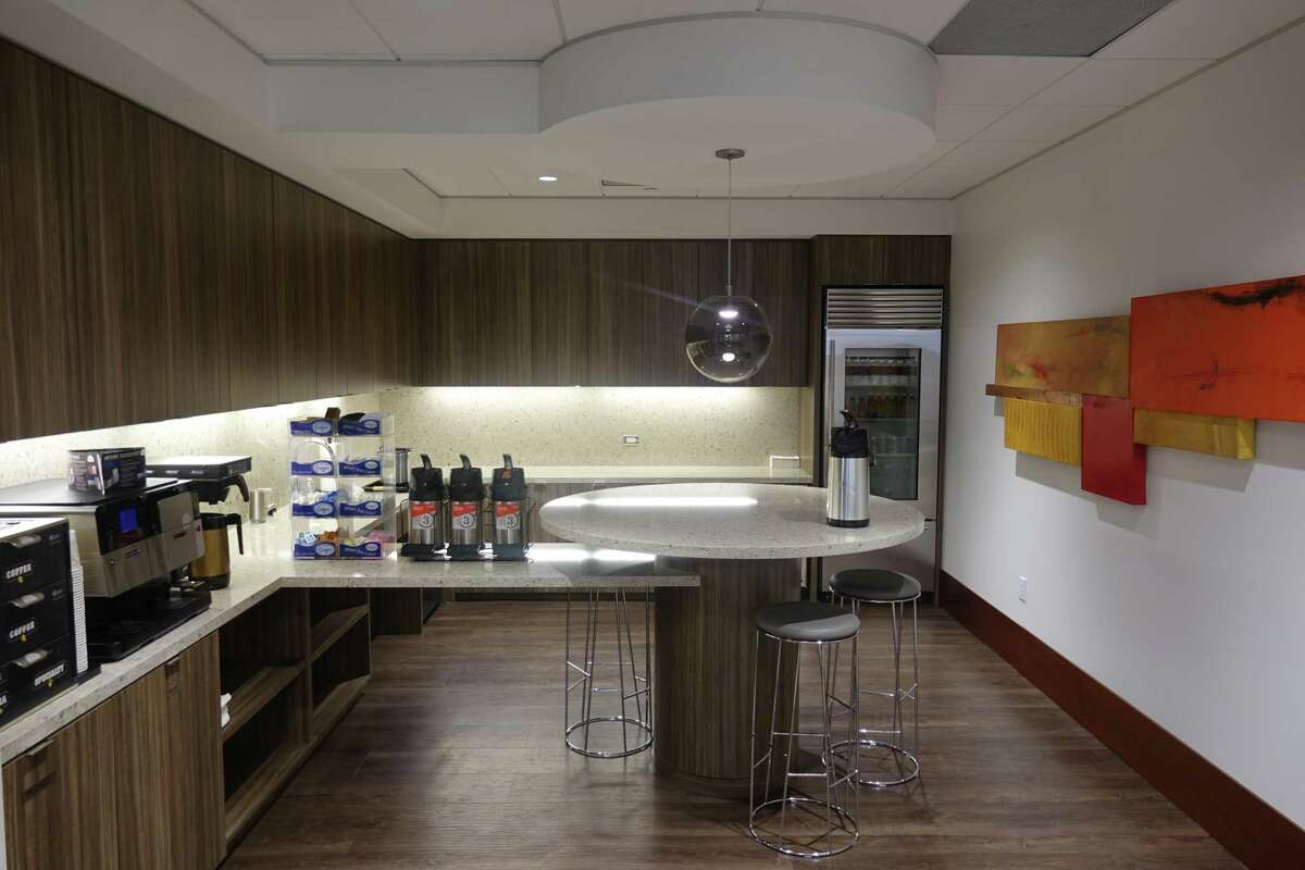 Chamberlain Hrdlicka is completing a $2 million renovation of its offices in Two Allen Center on the 13th and 14th floors. Abel Design Group is handling the renovations. The kitchen area is shown.