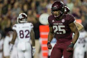 Texas A&M linebacker Tyrel Dodson (25) reacts after stopping Mississippi State on a third down during the first quarter of an NCAA college football game on Saturday, Oct. 28, 2017, in College Station, Texas. (AP Photo/Sam Craft)