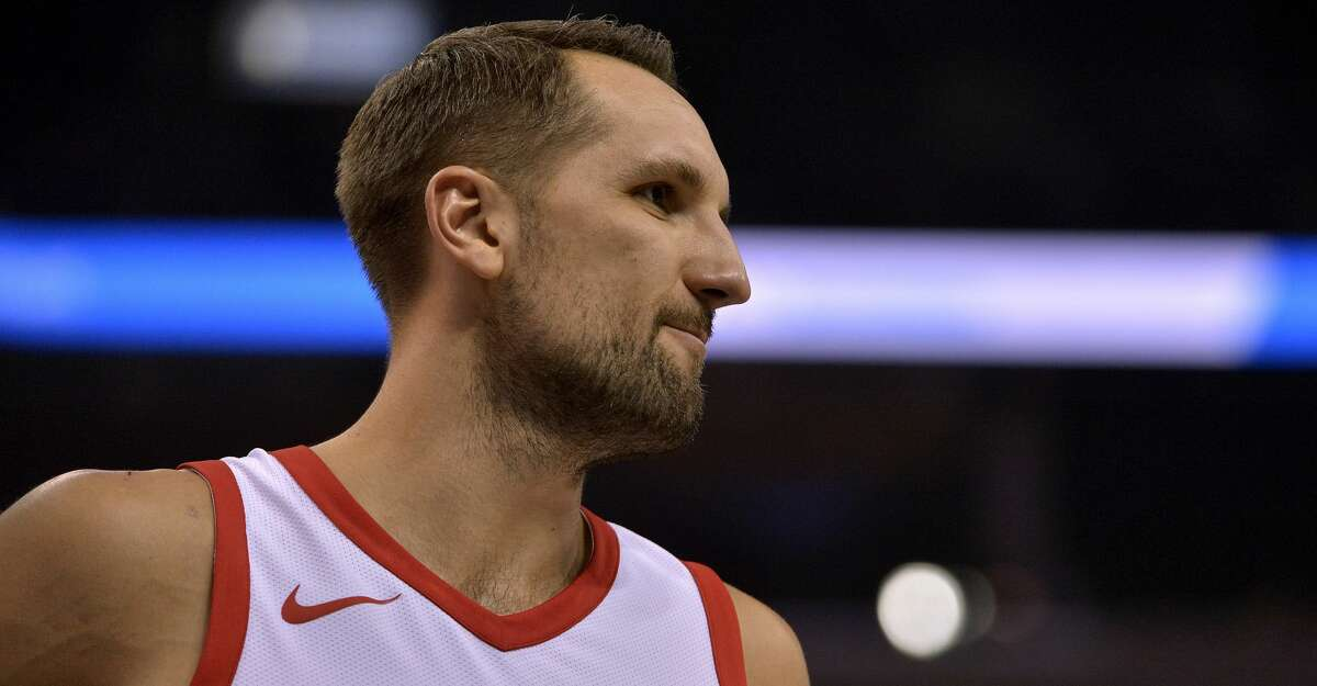 Houston Rockets forward Ryan Anderson plays in the second half of an NBA basketball game against the Memphis Grizzlies Saturday, Oct. 28, 2017, in Memphis, Tenn. (AP Photo/Brandon Dill)