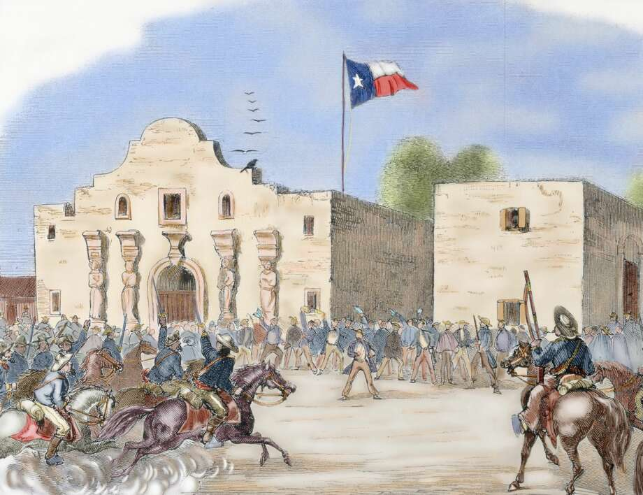 "USA. Annexation of Texas. In December 1845, during the presidency of James Knox Polk, Texas became a state of the Union. The annexation meant the Mexican-American war of 1846-1848. Texas State Flag waving over The Alamo, San Antonio, after being admitted to the Union a month before the start of the Civil War, 1845. Engraving from ""Harper's Weekly"" (1861). Colored. (Photo by: Prisma/UIG via Getty Images) Photo: PHAS/UIG Via Getty Images"