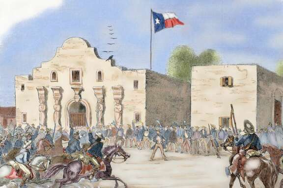 "USA. Annexation of Texas. In December 1845, during the presidency of James Knox Polk, Texas became a state of the Union. The annexation meant the Mexican-American war of 1846-1848. Texas State Flag waving over The Alamo, San Antonio, after being admitted to the Union a month before the start of the Civil War, 1845. Engraving from ""Harper's Weekly"" (1861). Colored. (Photo by: Prisma/UIG via Getty Images)"