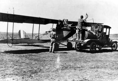 A Curtis JN-4D Jenny is fueled at Kelly Field. A similar aircraft, like the one flown by Katherine Stinson to raise funds for the American Cross during World War I, was recently placed on public display in Terminal B at San Antonio International Airport.
