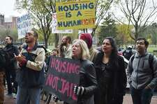 Images of a march seeking an end to discrimination against the homeless sponsored by the Connecticut Bail Fund in downtown New Haven, Wednesday, Nov. 1, 2017.