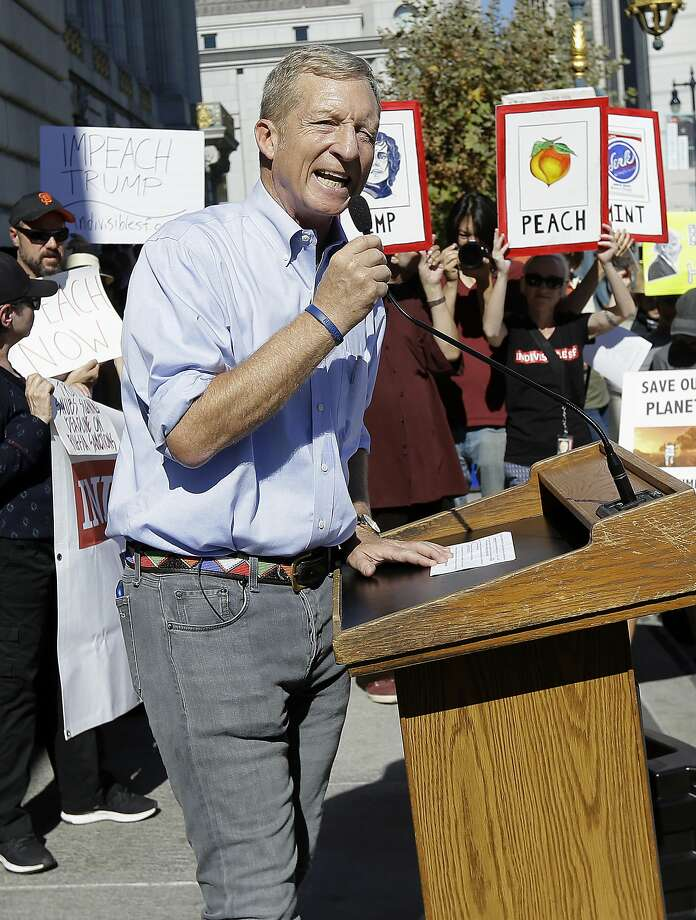 Tom Steyer speaks at a rally calling for the impeachment of President Donald Trump in San Francisco, Tuesday, Oct. 24, 2017. (AP Photo/Jeff Chiu) Photo: Jeff Chiu, Associated Press
