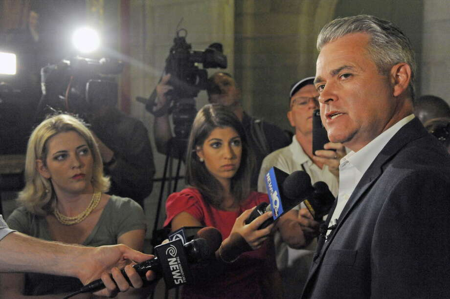 Assemblyman Steve McLaughlin talks to the media at the Capitol. (Archive photo) Photo: Michael P. Farrell / 20037267A