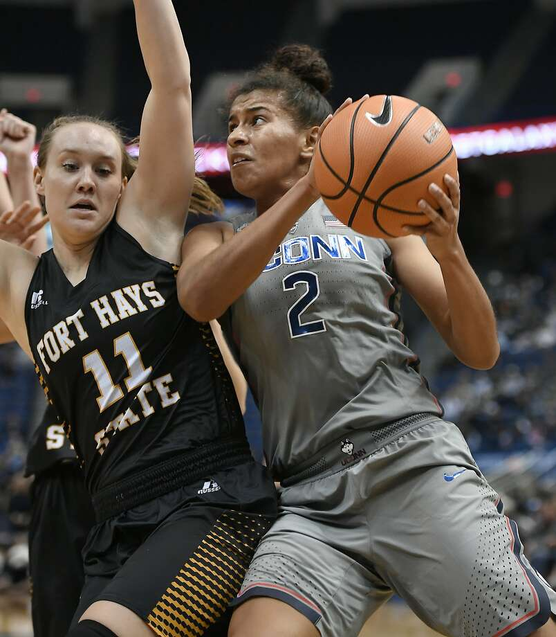 Connecticut's Andra Espinoza-Hunter (2) drives the ball around Fort Hays State's Lindsay Shupe (11) during the second half an NCAA women's college exhibition basketball game, Wednesday, Nov. 1, 2017, in Hartford, Conn. (AP Photo/Jessica Hill) Photo: Jessica Hill, Associated Press