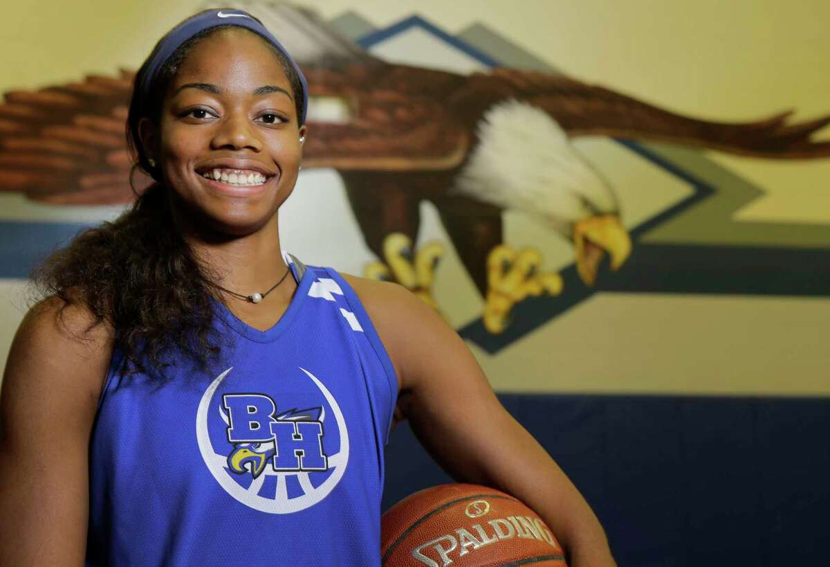 Charli Collier, a senior Barbers Hill High School basketball player, is shown Wednesday, Nov. 1, 2017, in Mont Belvieu.