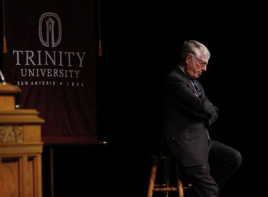 "Former news anchor Ted Koppel speaks at Trinity University's Distinguished Lecture Series in Laurie Auditorium on Wednesday, Nov. 1, 2017. A large audience filled the hall to listen to the journalist share his thoughts on the state of the country as well as about modern-day journalism. His lecture was titled ""Brave New World the Future of Journalism."" (Kin Man Hui/San Antonio Express-News) Photo: Kin Man Hui /San Antonio Express-News / ©2017 San Antonio Express-News"