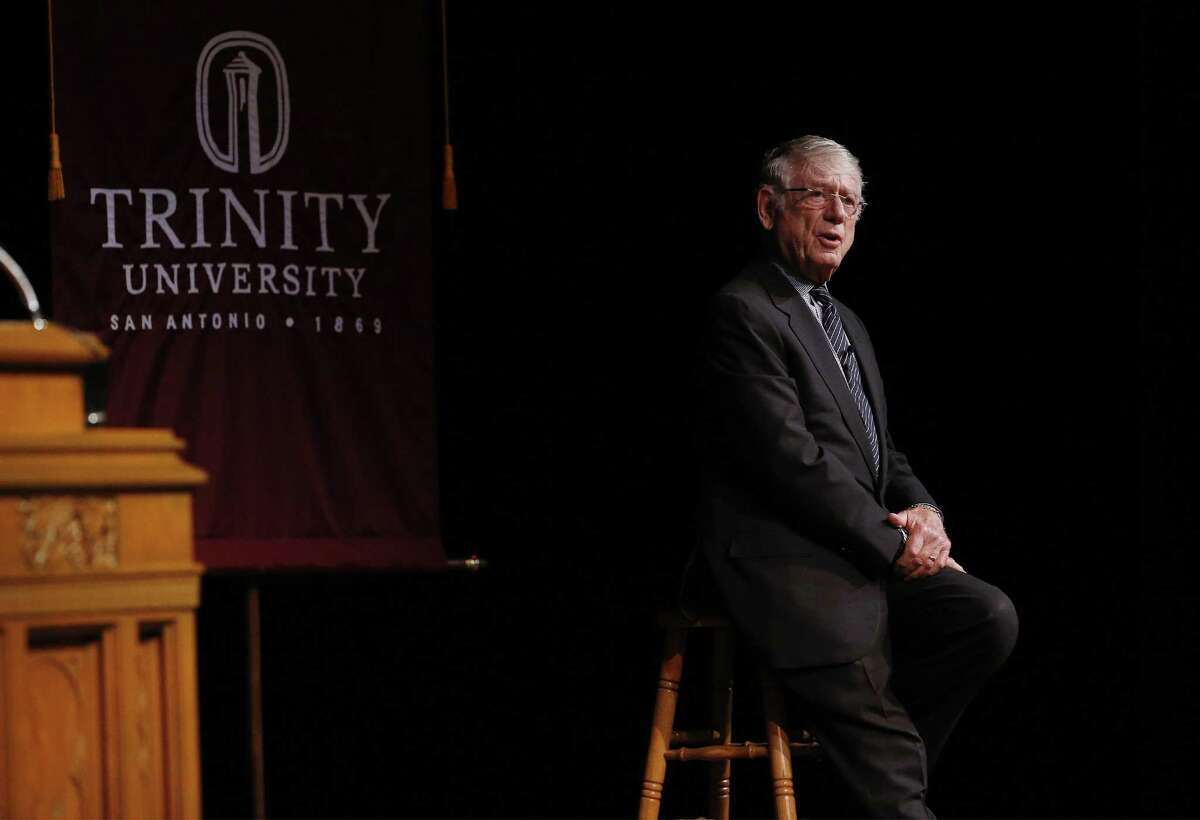 Former news anchor Ted Koppel speaks at Trinity University's Distinguished Lecture Series in Laurie Auditorium on Wednesday, Nov. 1, 2017. A large audience filled the hall to listen to the journalist share his thoughts on the state of the country as well as about modern-day journalism. His lecture was titled