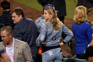 Model and actress Kate Upton attends game seven of the 2017 World Series between the Houston Astros and the Los Angeles Dodgers at Dodger Stadium on November 1, 2017 in Los Angeles, California.  (Photo by Kevork Djansezian/Getty Images)