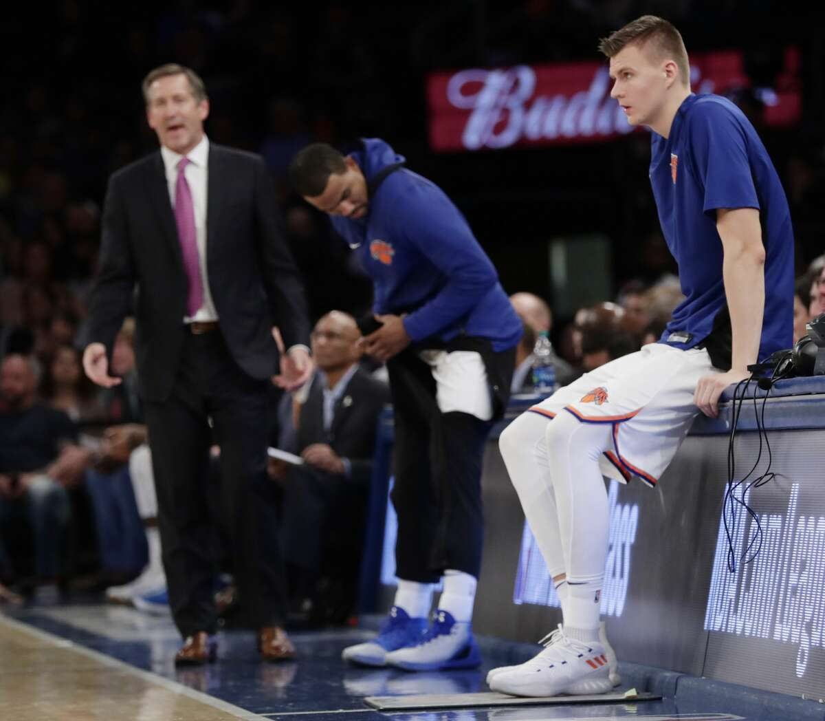 New York Knicks' Kristaps Porzingis, waits to check back into the game during the second half of an NBA basketball game against the Houston Rockets Wednesday, Nov. 1, 2017, in New York. The Rockets won 119-97. (AP Photo/Frank Franklin II)