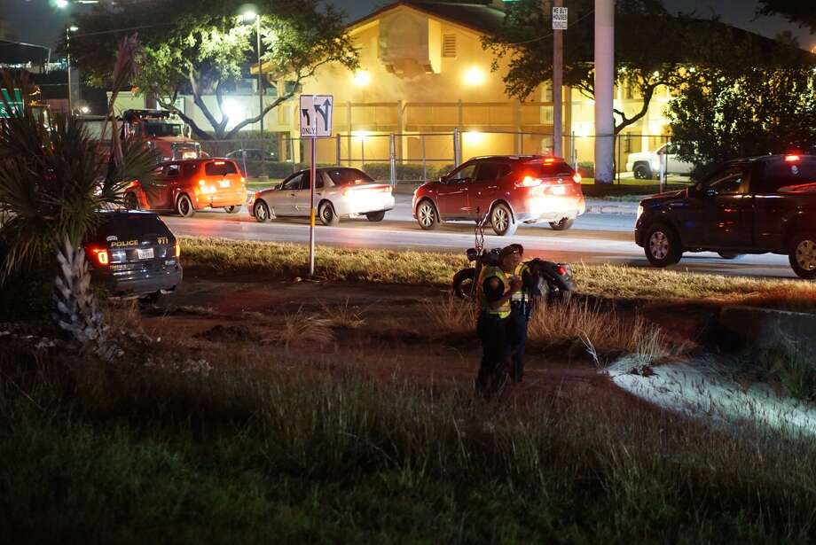 A man died as he attempted to cross Highway 90 near West Military Drive about 8:20 p.m. Wednesday Nov. 1, 2017. Photo: Jacob Beltran