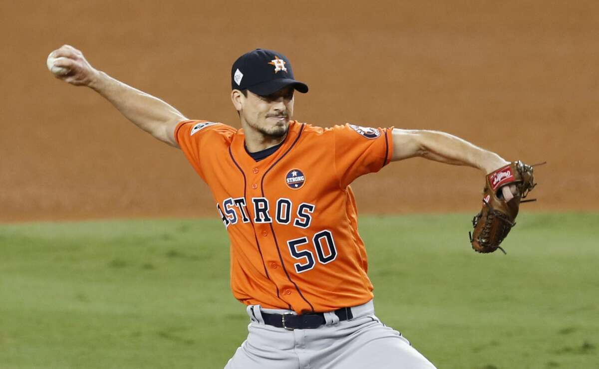 Houston Astros starting pitcher Charlie Morton pitches against the Los Angeles Dodgers during the sixth inning of Game 7 of the World Series at Dodger Stadium on Wednesday, Nov. 1, 2017, in Los Angeles.