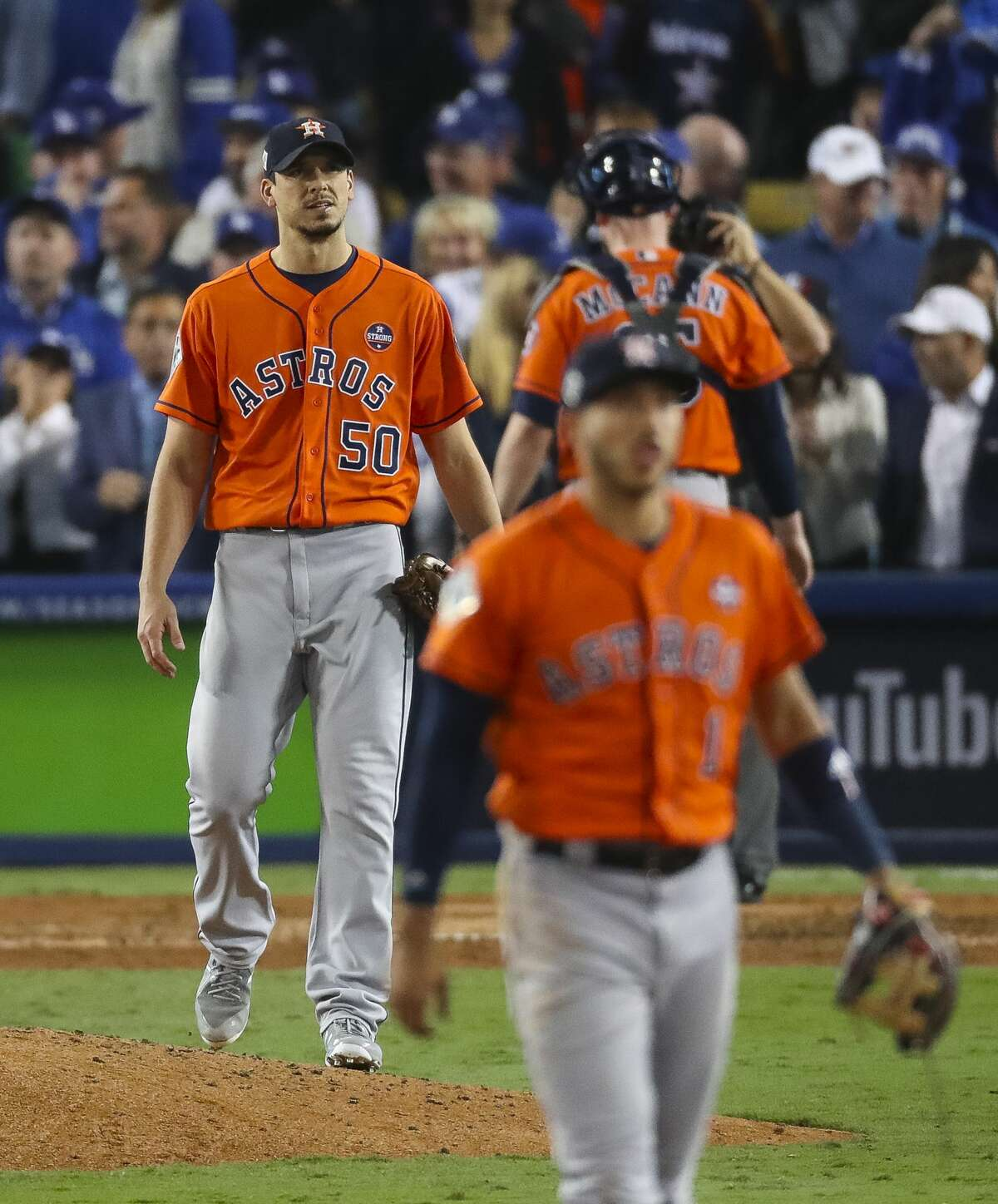 Houston Astros pitcher Charlie Morton (50) reacts after allowing an RBI single by Los Angeles Dodgers right fielder Andre Ethier (16) during the sixth inning of Game 7 of the World Series at Dodger Stadium on Wednesday, Nov. 1, 2017, in Los Angeles.