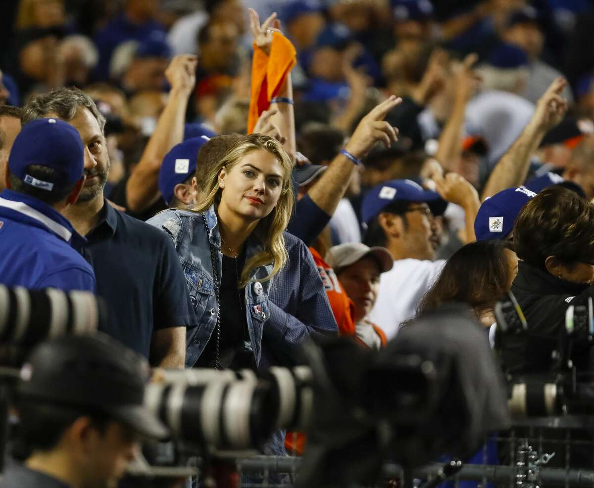 Kate Upton watches the seventh inning of Game 7 of the World Series at Dodger Stadium on Wednesday, Nov. 1, 2017, in Los Angeles.