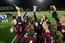 Stillwater players celebrate 4-2 win against Schoharie during a girls Section II Class C high school soccer final game in Stillwater, N.Y., Wednesday, Nov. 1, 2017. (Hans Pennink / Special to the Times Union) ORG XMIT: HP109