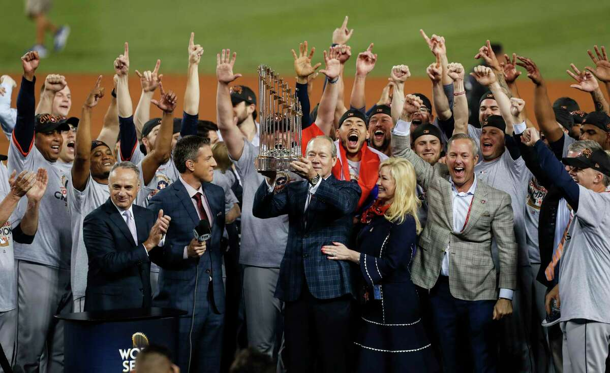 The Astros celebrate after winning Game 7 of the 2017 World Series at Dodger Stadium for the first championship in franchise history.