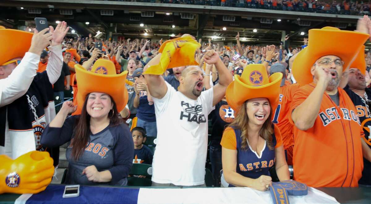 Houston Astros fans celebrate World Series Championship from Minute Maid Park on Wednesday, Nov. 1, 2017, in Houston.