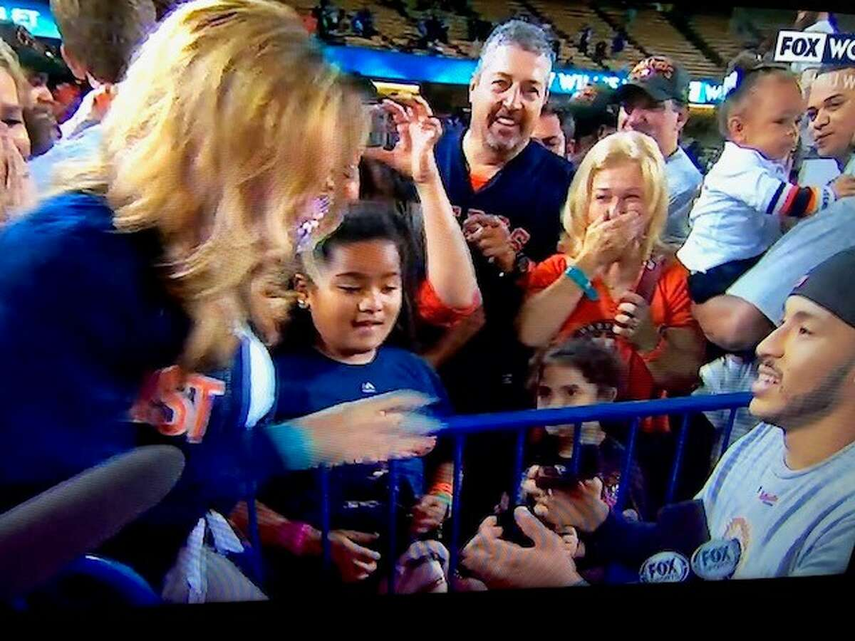 Houston Astro Carlos Correa proposes to girlfriend Miss Texas USA Daniella Rodriguez after World Series win over the Los Angeles Dodgers.