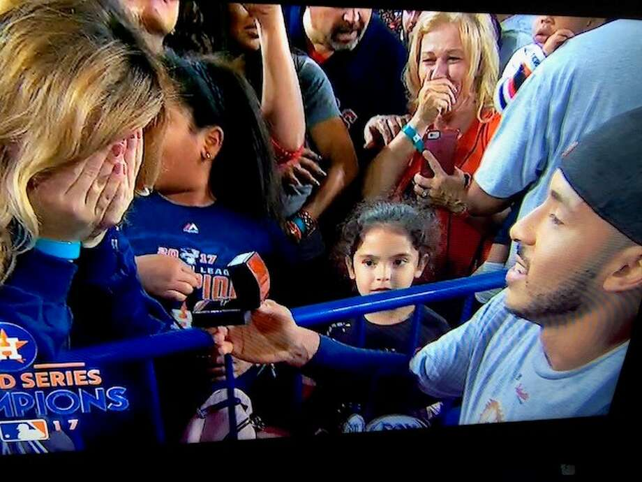 Houston Astro Carlos Correa proposes to girlfriend Miss Texas USA Daniella Rodriguez after World Series win over the Los Angeles Dodgers. Photo: Fox 26