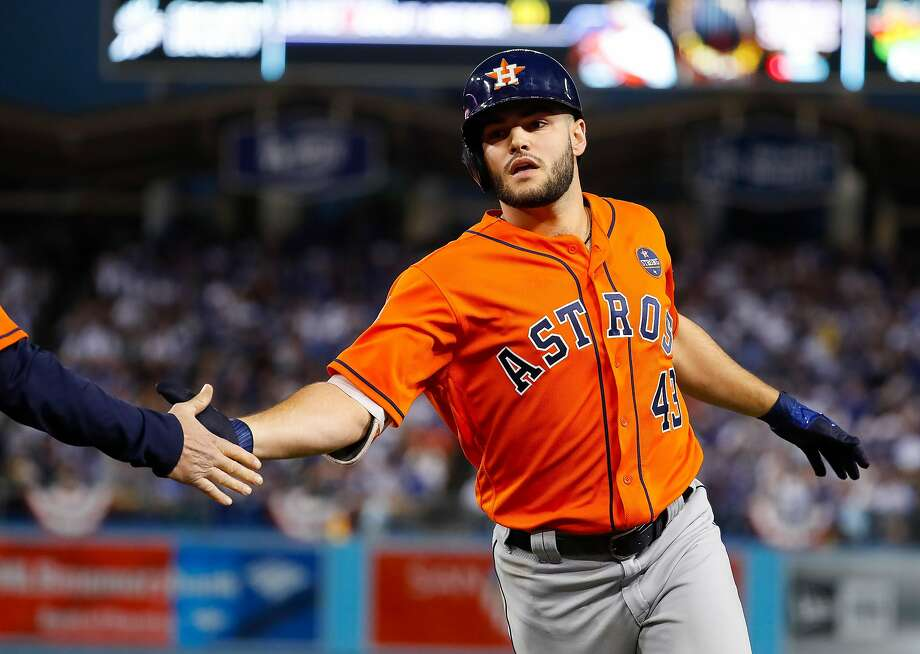 Houston Astros starting pitcher Lance McCullers Jr. (43) celebrates his ground out RBI that allows Brian McCann to score during the second inning of Game 7 of the World Series at Dodger Stadium on Wednesday, Nov. 1, 2017, in Los Angeles. ( Karen Warren  / Houston Chronicle ) Photo: Karen Warren, Houston Chronicle